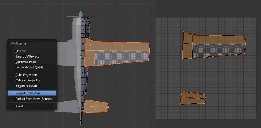 UV Map bottom faces of wings