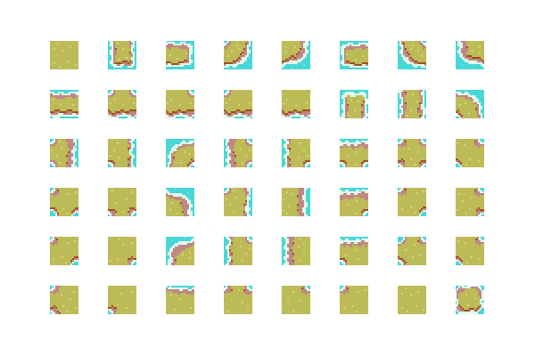 A sprite sheet of an example tileset