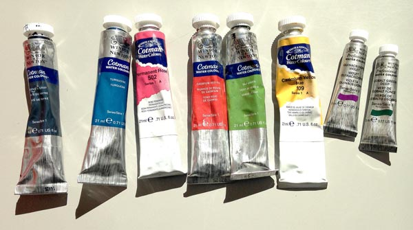 Tubes of watercolour paint