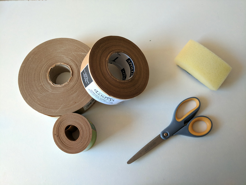 Gummed tape sciccors and sponge