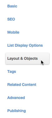 Layout Objects Tab