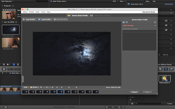 Neat Video plugin options window open