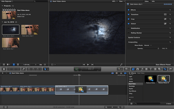 adding the Neat Video plugin from the effects panel to a clip in the timeline
