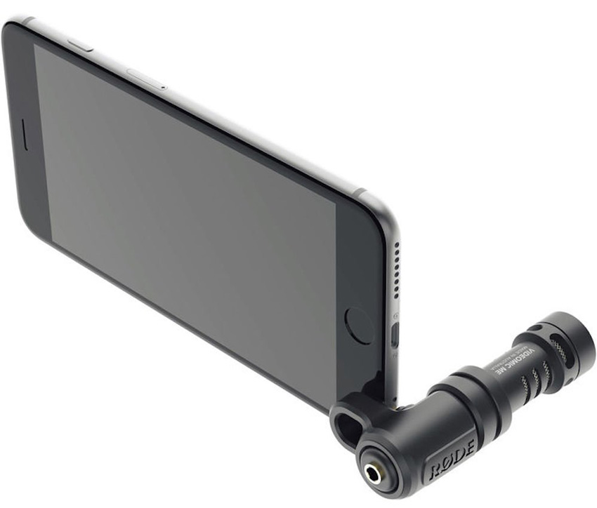 Shotgun mic attached to smartphone