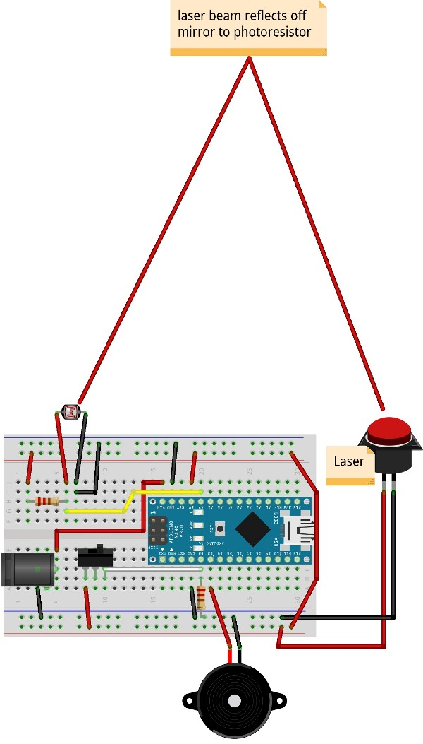 How to build a laser tripwire with arduino
