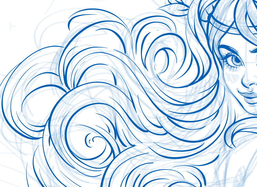 line art of hairs
