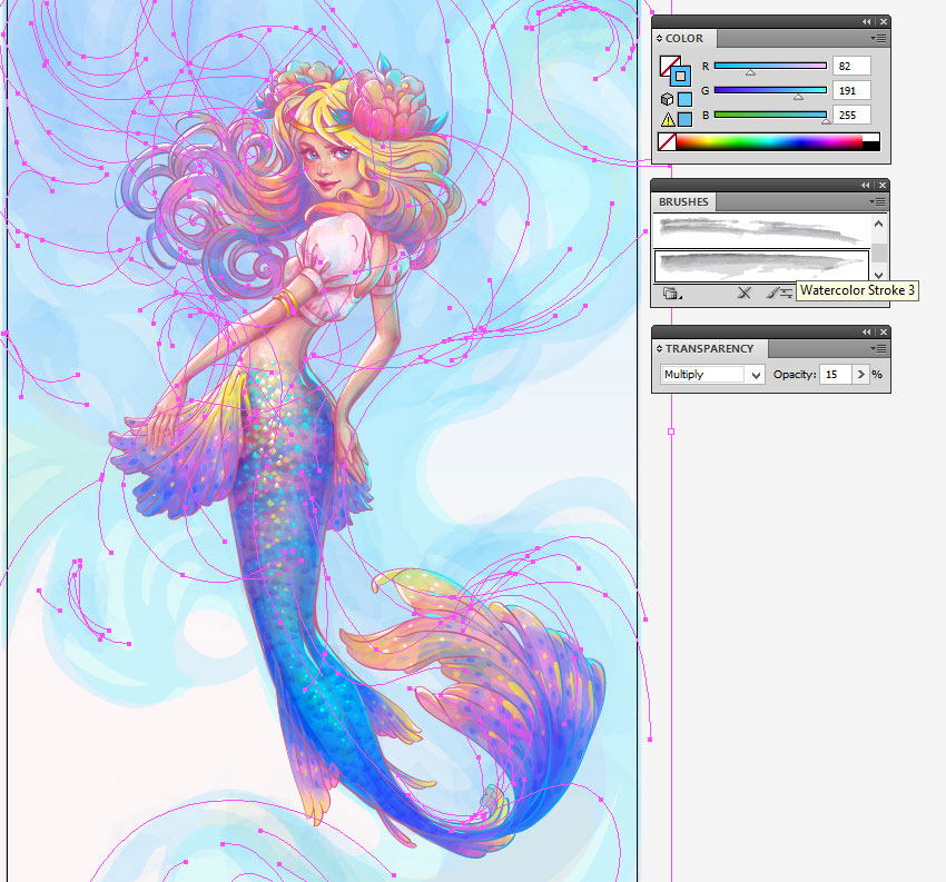 How to Create a Watercolor Mermaid Illustration in Adobe Illustrator