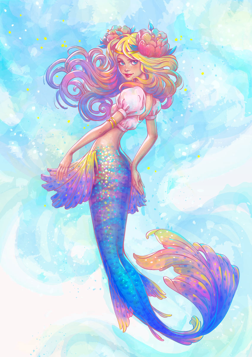 Watercolor Mermaid Illustration Illustrator Tutorial