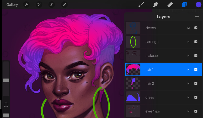 Neon Portrait Tutorial Procreate forming hairstyle volume