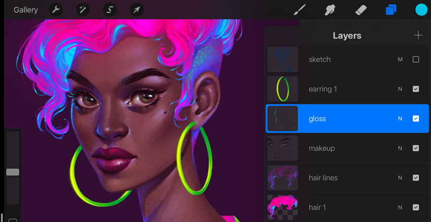 Neon Portrait Tutorial Procreate add cyan gloss