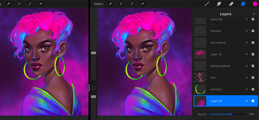 Procreate Neon Portrait Painting Tutorial create a pink nebula