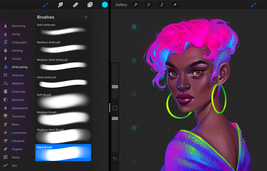 Procreate Neon Portrait Painting Tutorial create dots