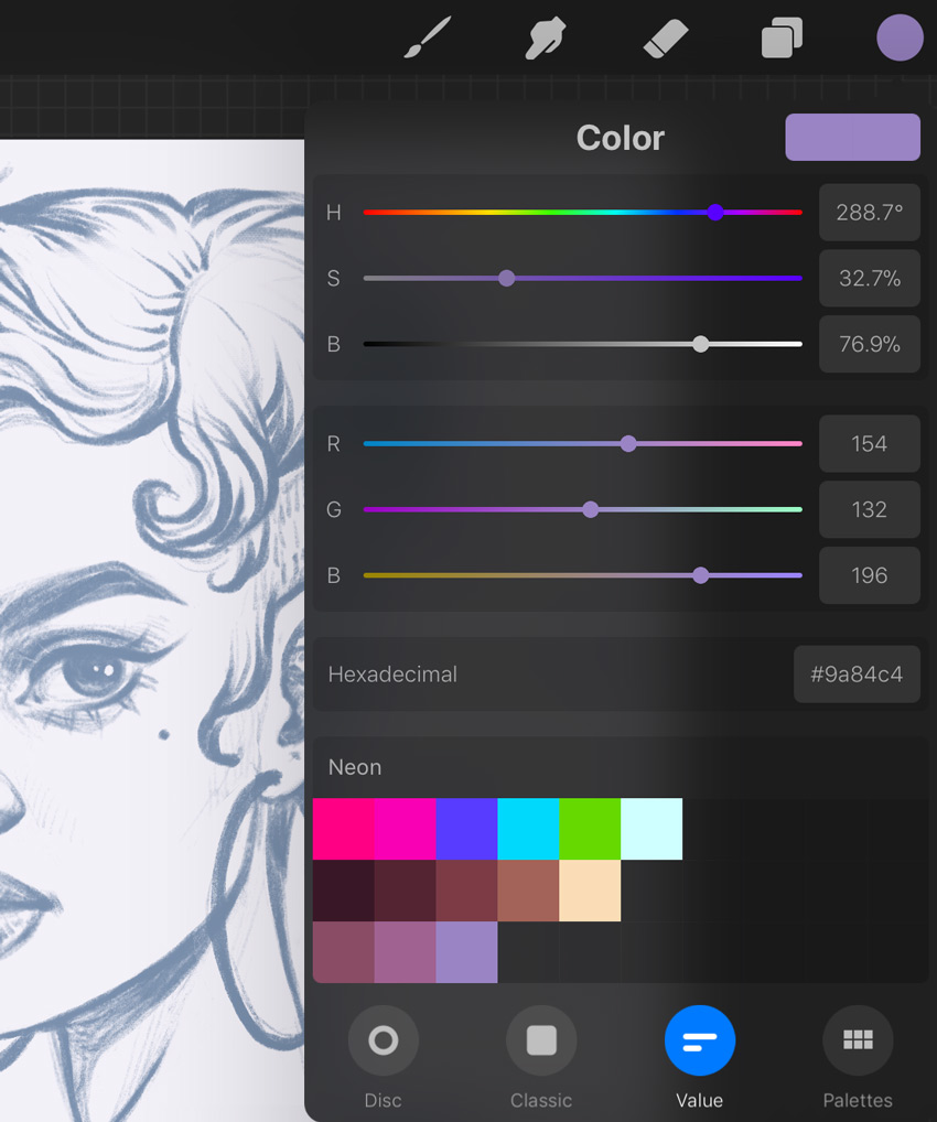 Neon Portrait Procreate Digital Drawing Tutorial create a neon paint designs palette