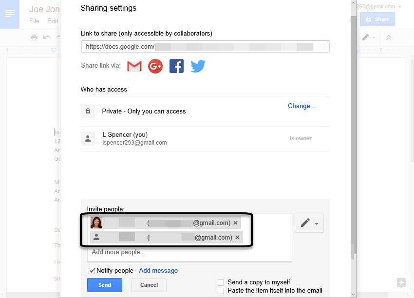 Enter email address in Google Docs