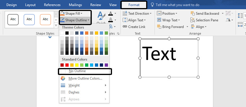 Shape Outline Options In Microsoft Word