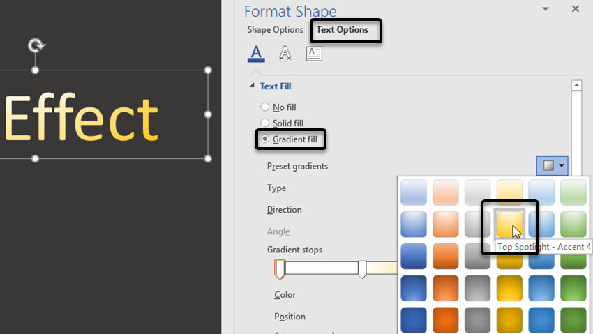 Preset Gradient Fill options in Word
