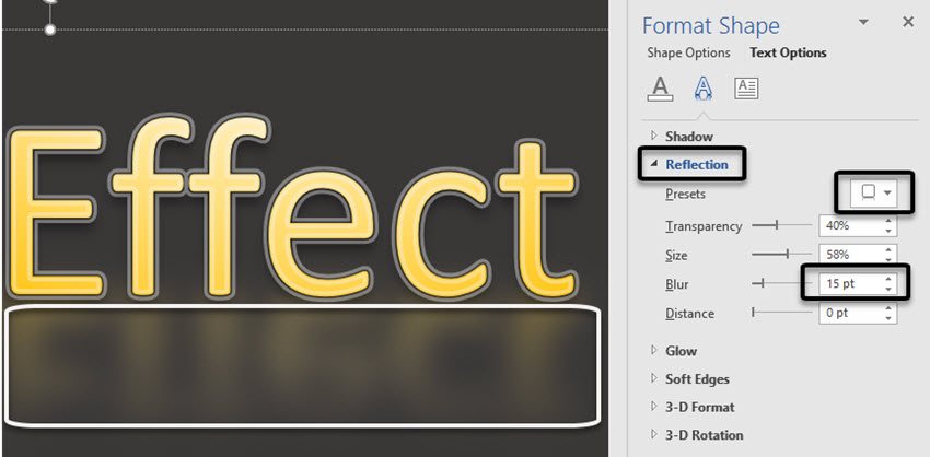 Word Text Effects -- Reflection and Blur