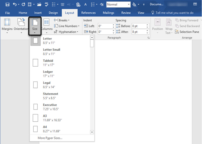 Page Size Options In Word