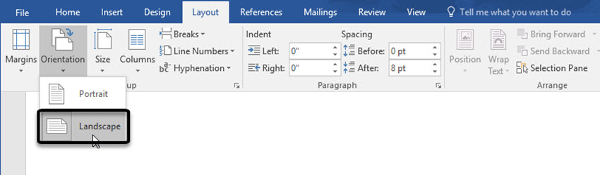 Landscape page orientation in Word
