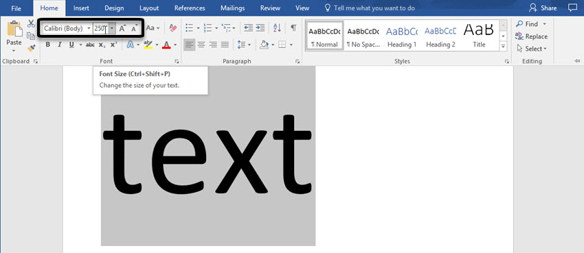 A large font size in Word