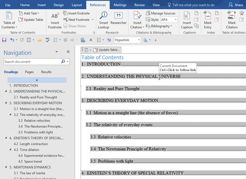 MS Word table of contents with automatic hyphens