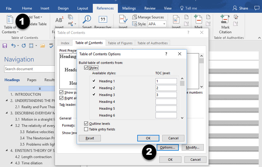 Options dialog box showing heading styles