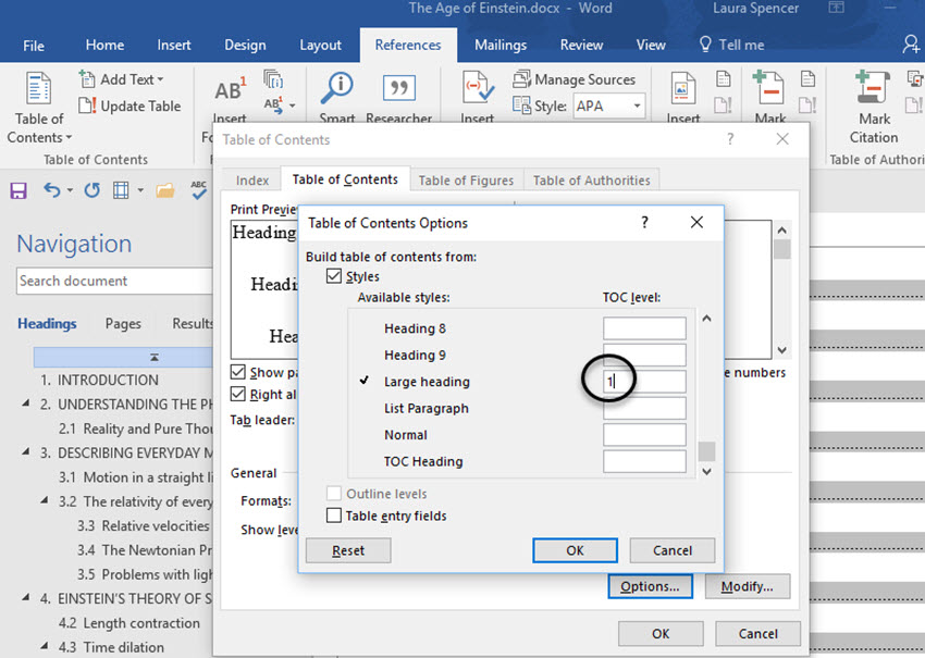 Custom styles in the Headings dialog box in Word