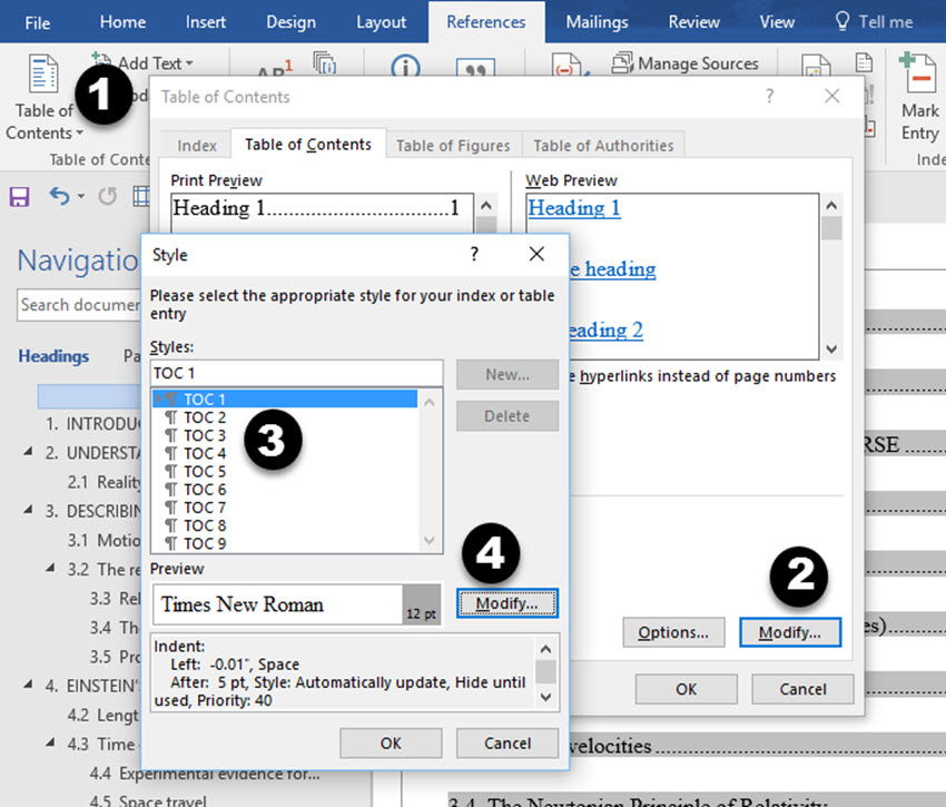 How to create a table of contents in microsoft word modify styles dialog box in word pronofoot35fo Choice Image