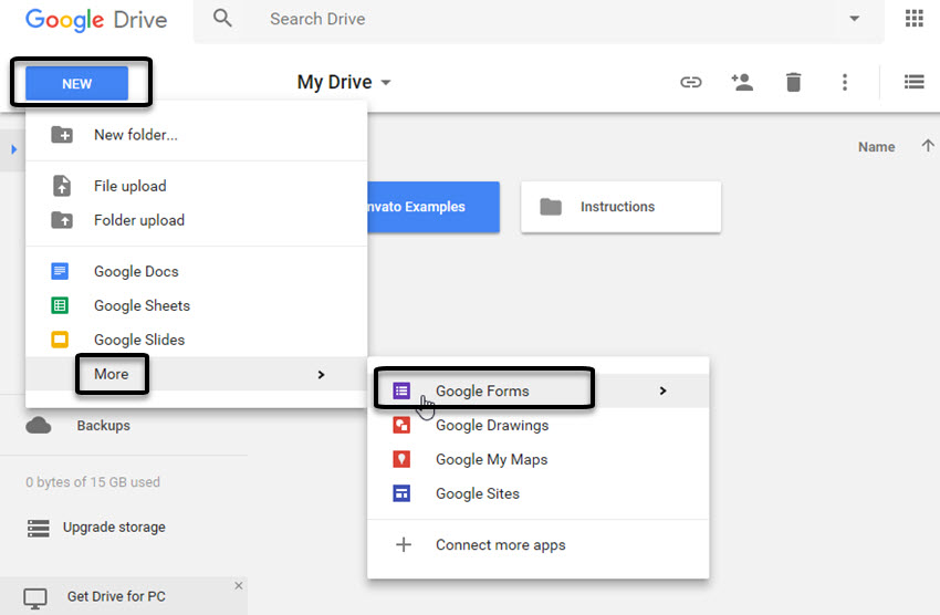 Google Forms option on drop-down menu