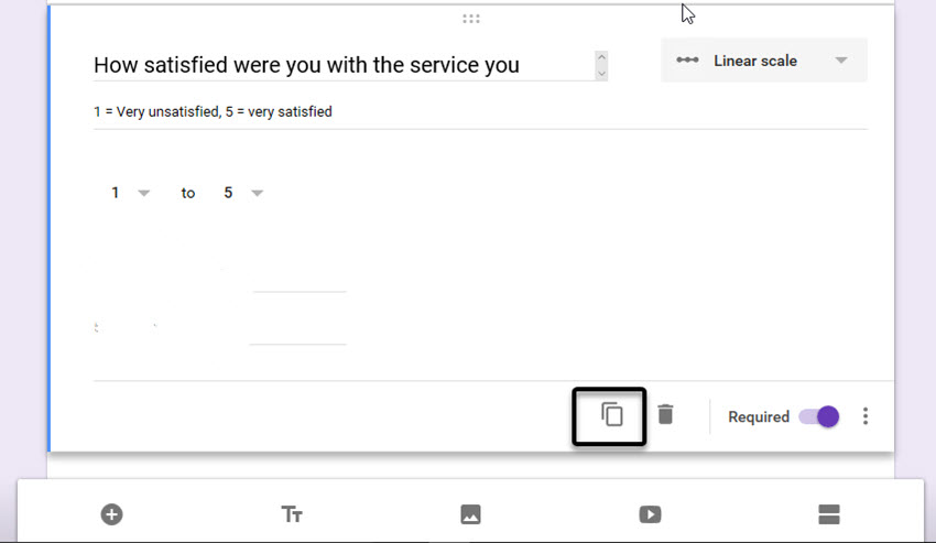 Google Forms survey example Linear Scale question
