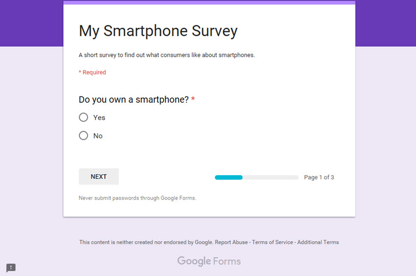 Previewing a Google Forms Survey