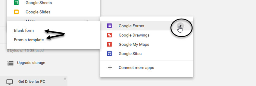 Google Forms options
