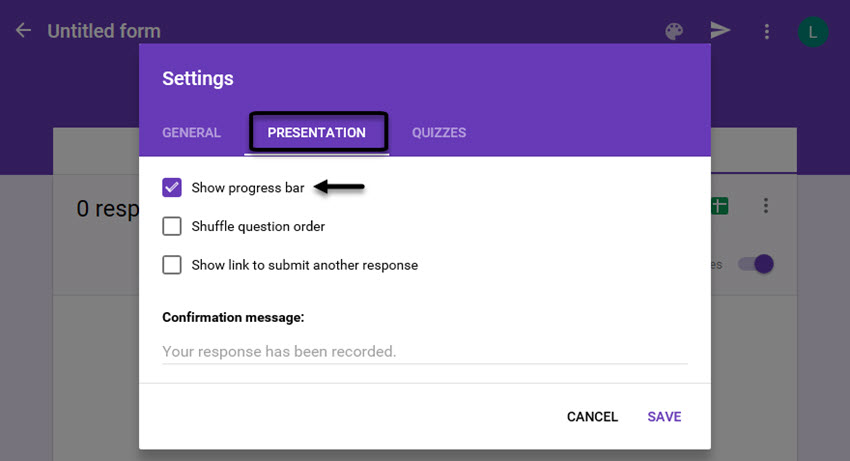 Google Forms Survey Settings Dialog Box