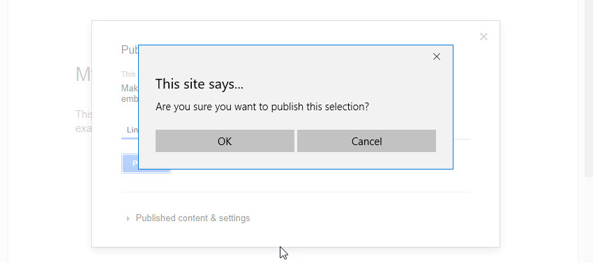 Publish to Web Popup