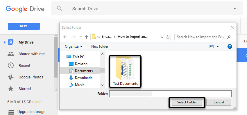 Select a Folder to upload