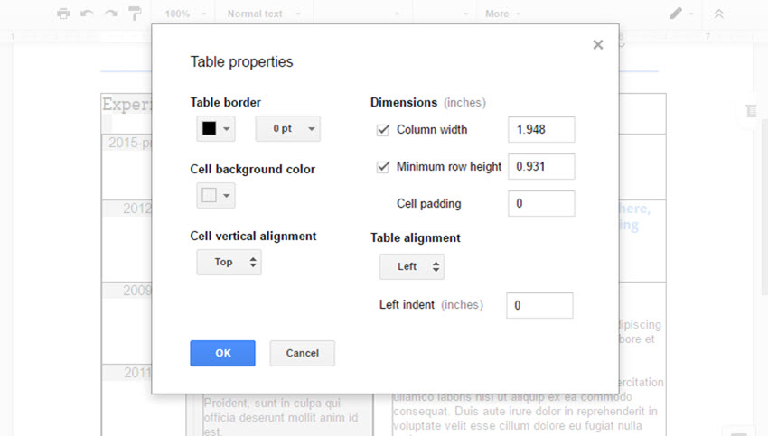 setting the table border to 0 pt to make it invisible - How To Make A Resume On Google Docs