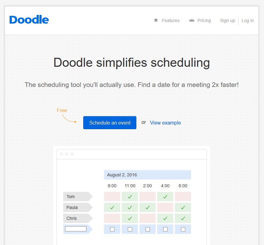 Doodle Work Scheduling Best Productivity App