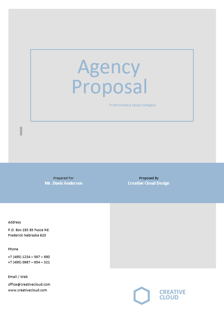 Business Proposal Template Cover Page
