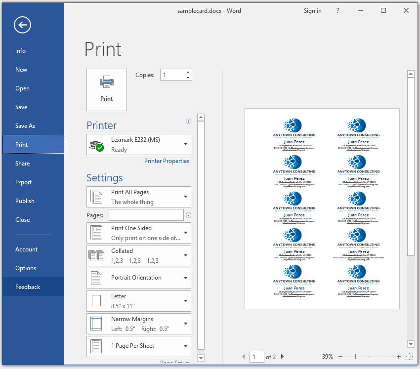 Prep Your Microsoft Word Business Cards to Print