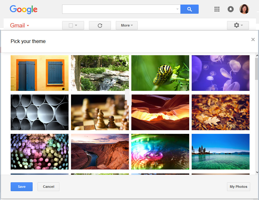 Gmail theme options