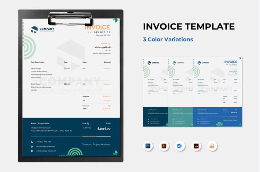 20 Best Simple Microsoft Word Invoice Design Templates 2021
