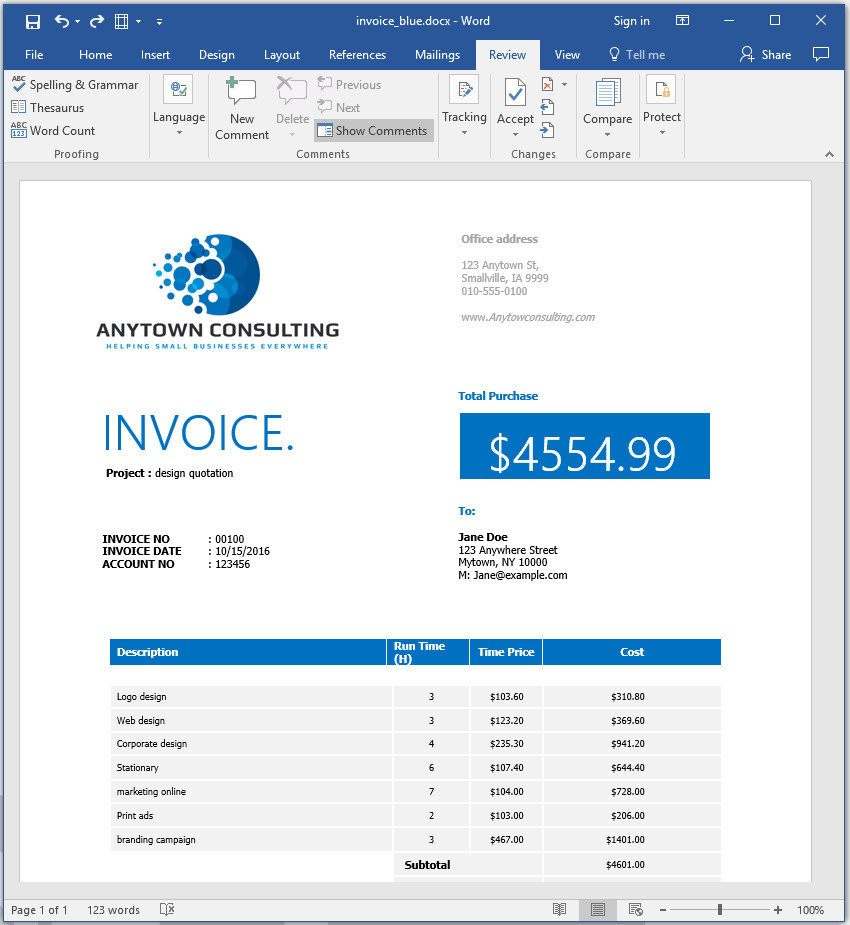Word invoice template with customized text applied