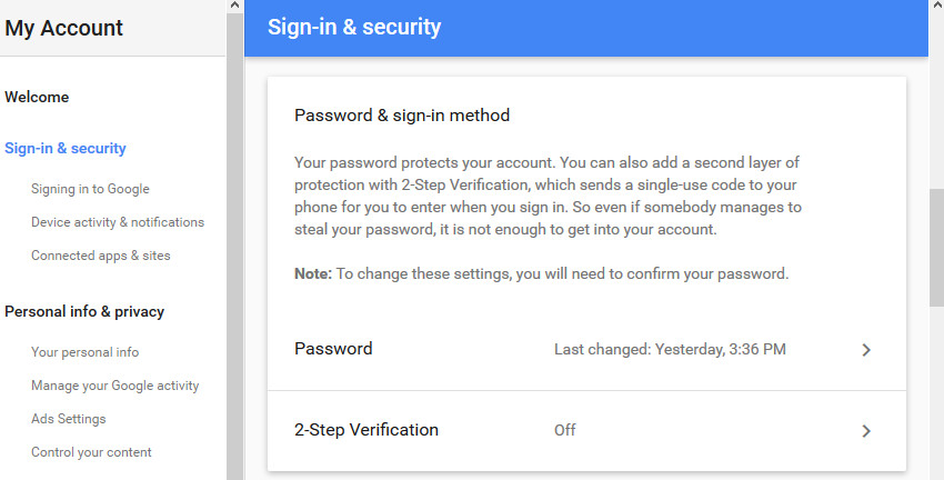 2-Step Verification field