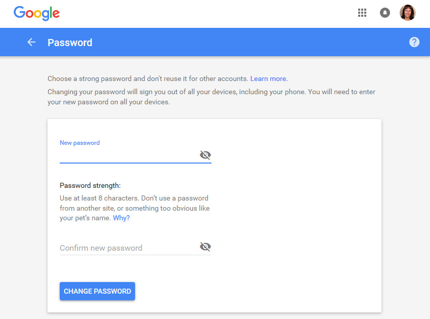 Type in a new password