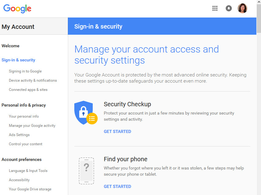 Gmail Sign-in  security screen