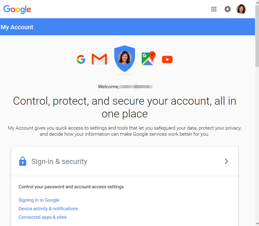 Gmail My Account screen