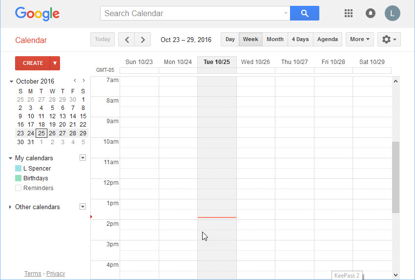 The main Google Calendar window