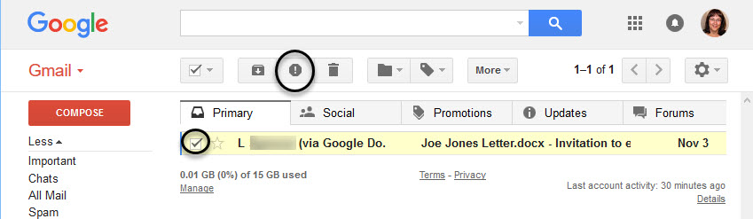 Report Spam icon in Gmail