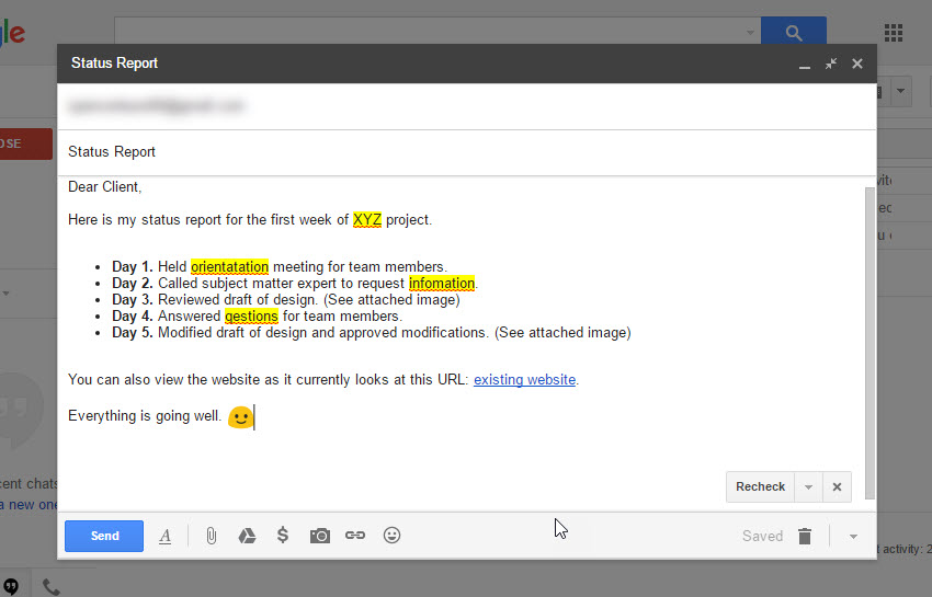 Gmail Spell Check feature