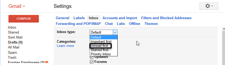 Change Inbox Type